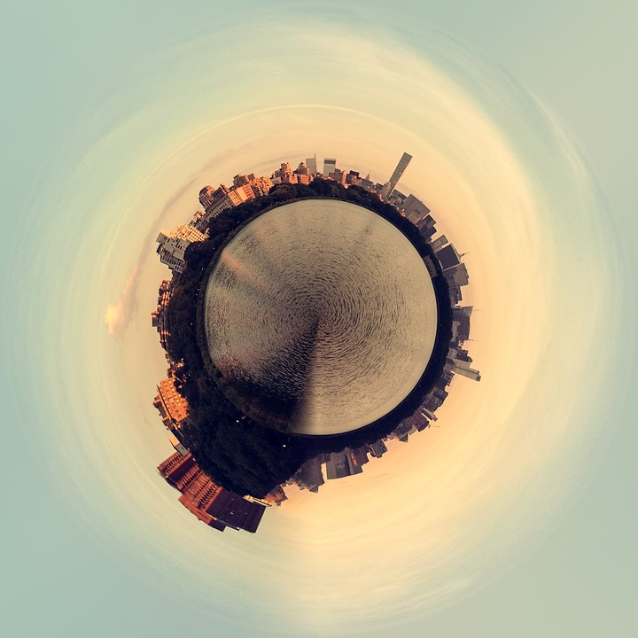 Planet Floating, Planet, Island, Earth, Sky, City