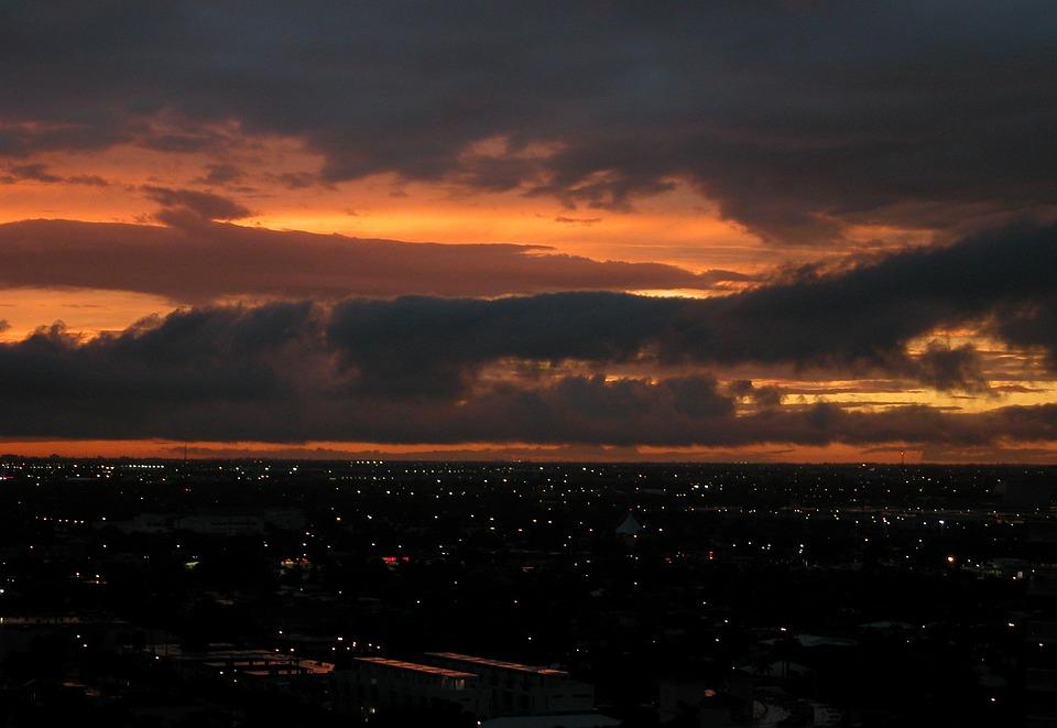 Sunset, City, Pompano Beach, Clouds, Orange, Sky