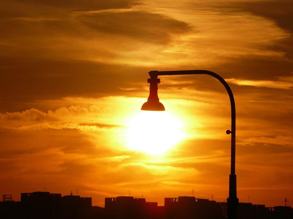 Lamp, Light, Sun, Sunlight, City, Sky, Clouds