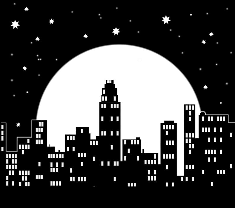 City, Night, Moon, Star