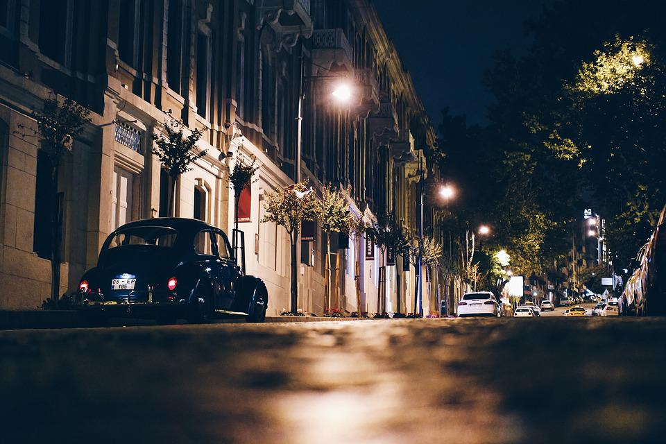 City, Cars, Night, Street, Sidewalk, Istanbul