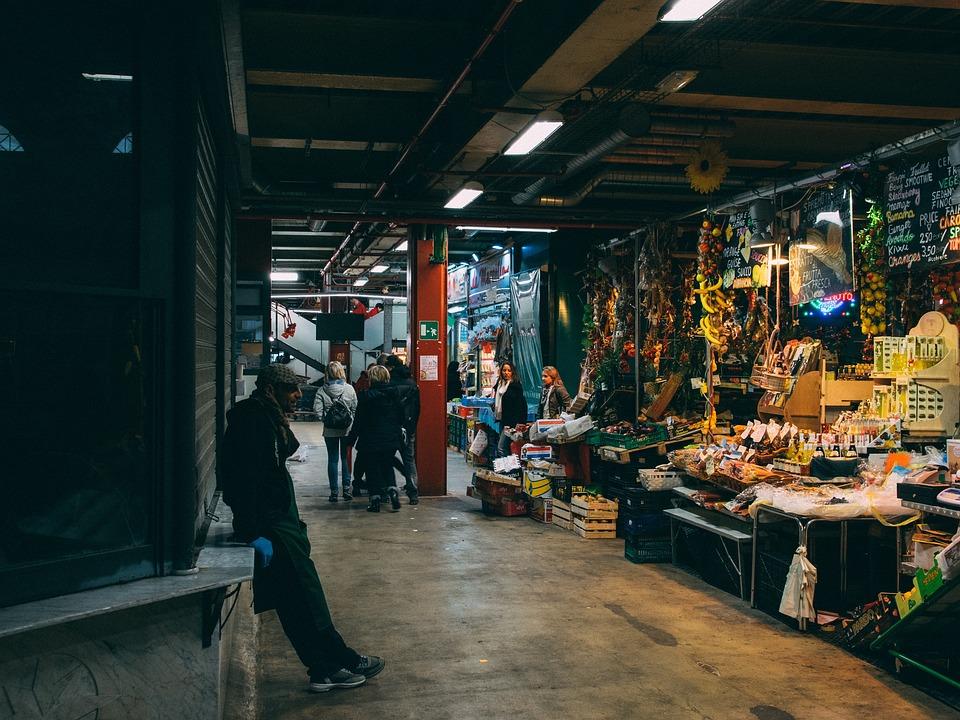 Market, Indoors, Street, City, Food, Italy, White