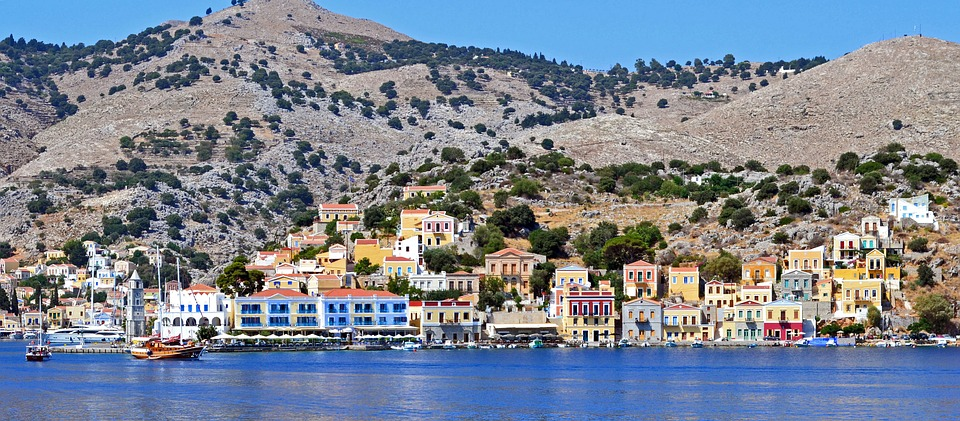 City, Mountains, Sea, Greece, Quay, Summer, Symi Island