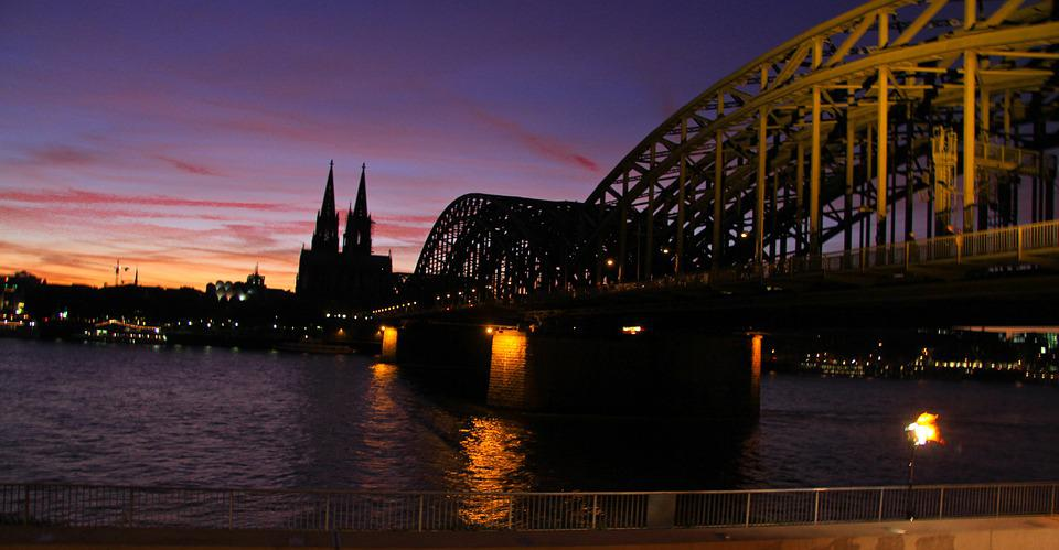 Cologne, City, Bridge, Sunset, Europe, River