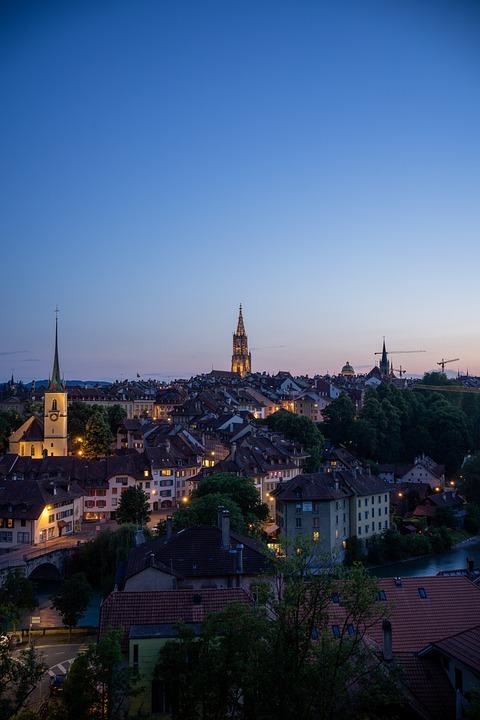 Bern, Swiss, Switzerland, City, Night