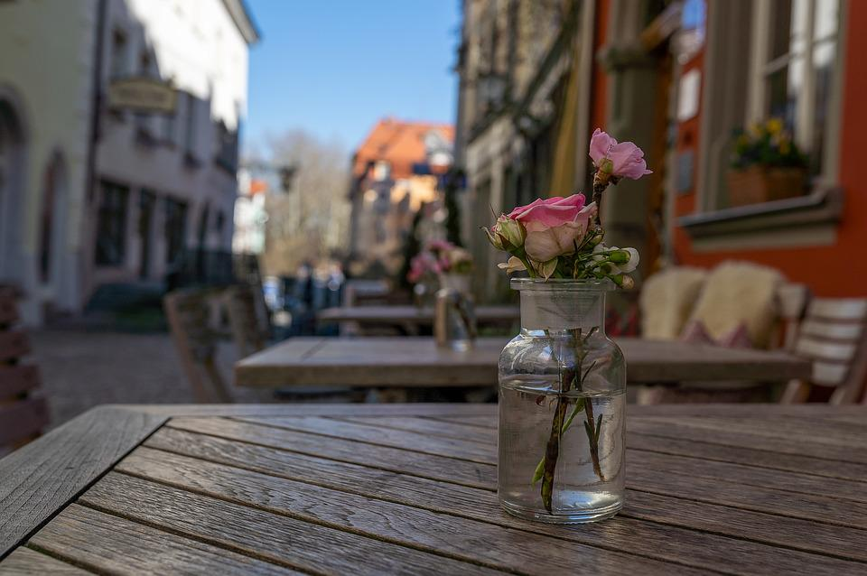 City, Flower, Rose, Table, Lindau, Alone, Downtown