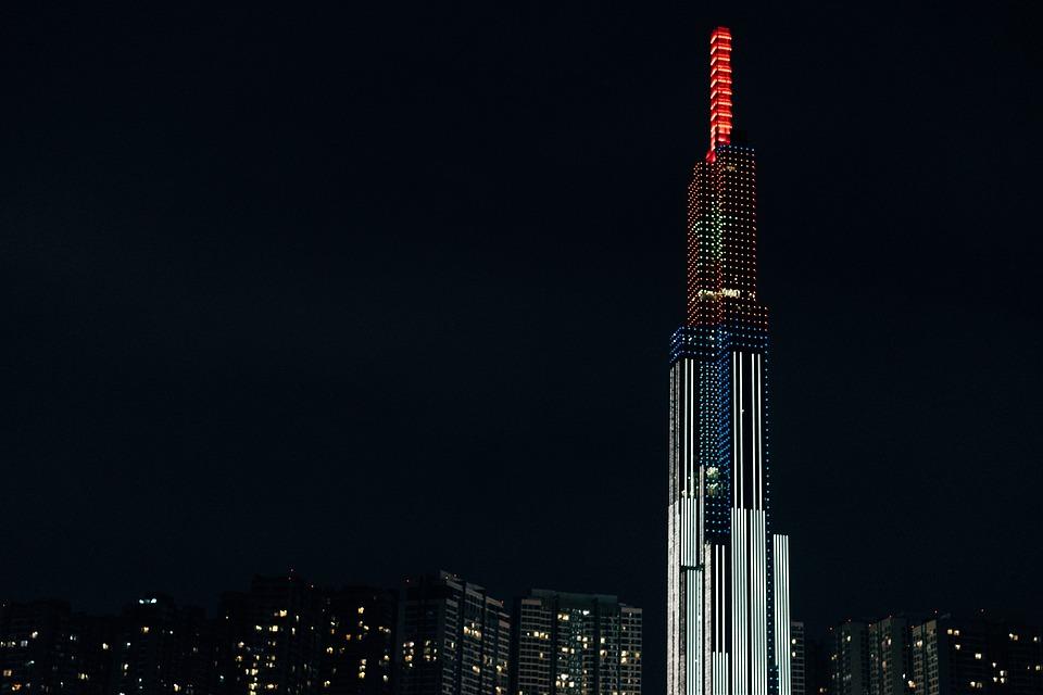 City, Skyline, Night, Building, Skyscraper, Tower