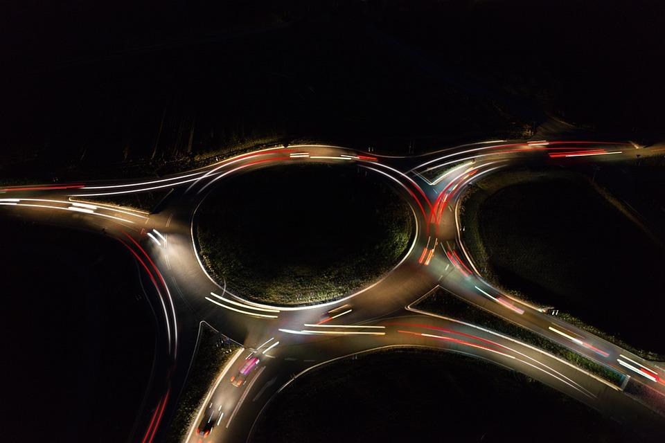 Traffic, Night, Highway, Lighting, Road, City, Light