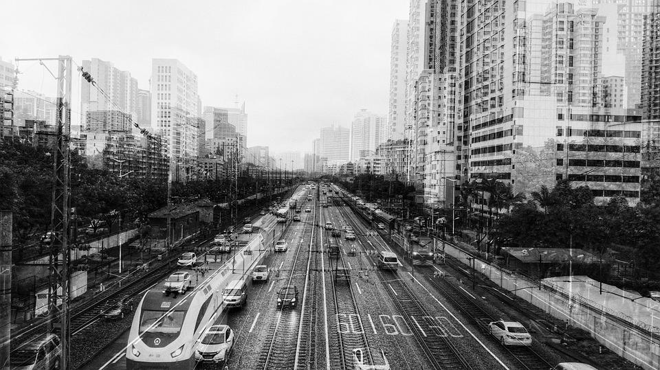 Street, City, Skyscraper, Traffic