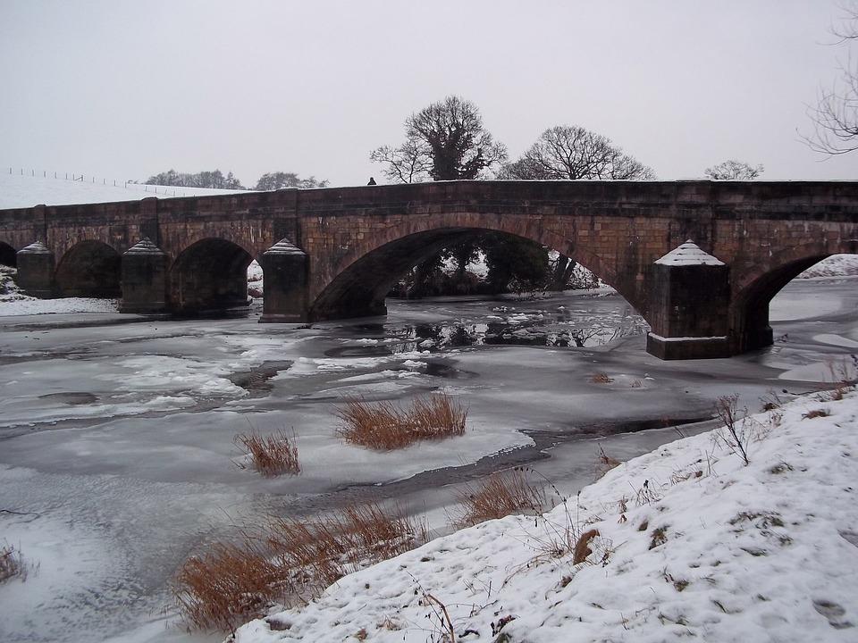 Bridge, River, Snow, Landscape, Ice, City, Travel, View
