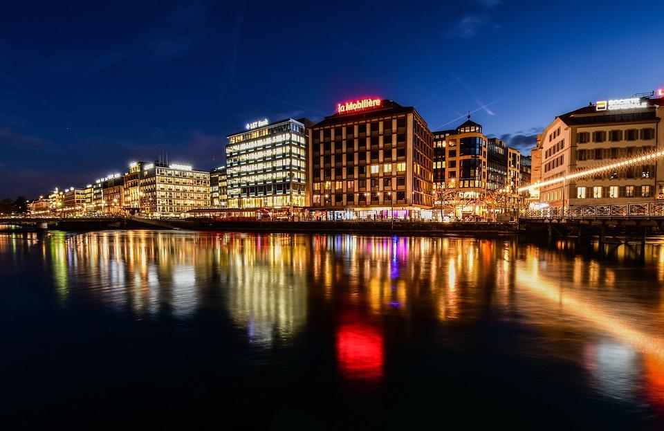 City, Twilight, Lights, Reflection, Urban, Architecture