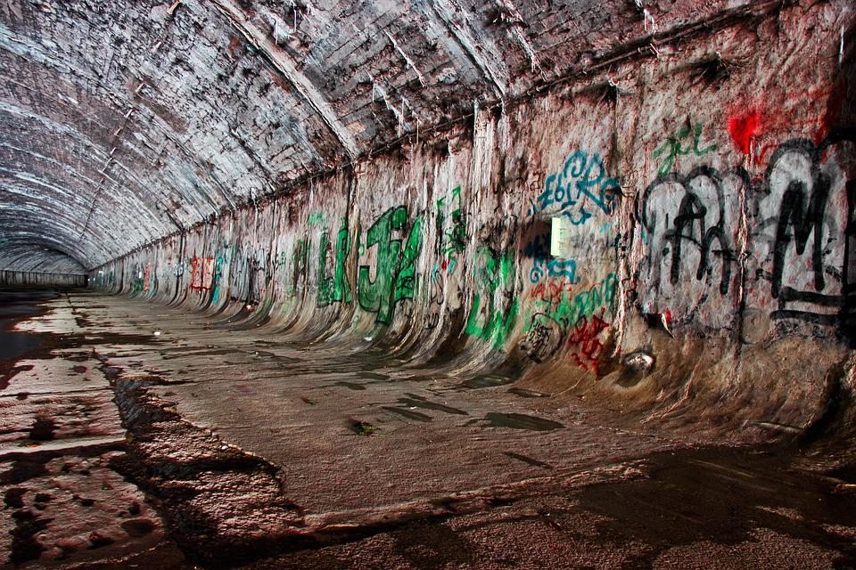 Underground, Water, City, Urban, Lost Place, Graffiti