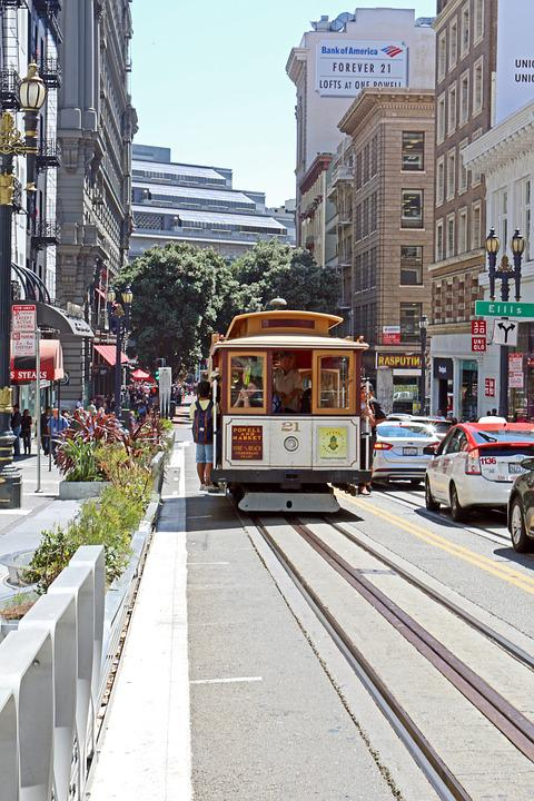 Tram, San Fransisco, Usa, City, Street