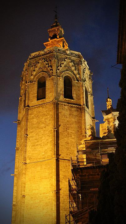 Spain, Valencia, At Night, Architecture, Building, City