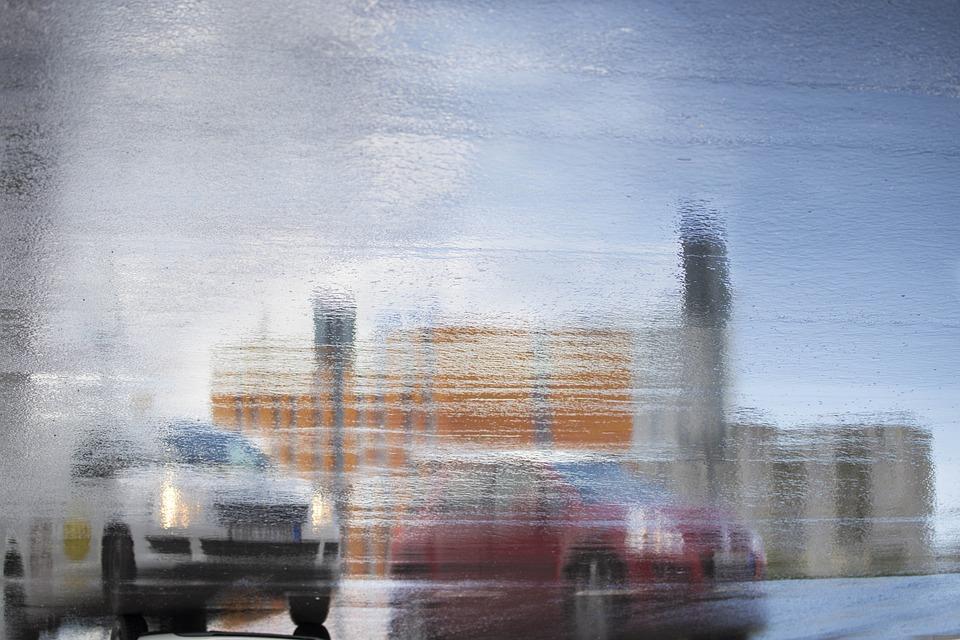Reflection, City, Car, Water, Ground, Wet, Rain, Road