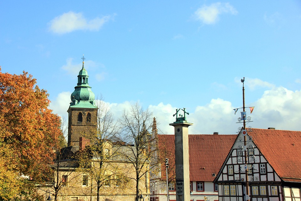 City, Cityscape, Church, Building, Fachwerkhaus, Pillar