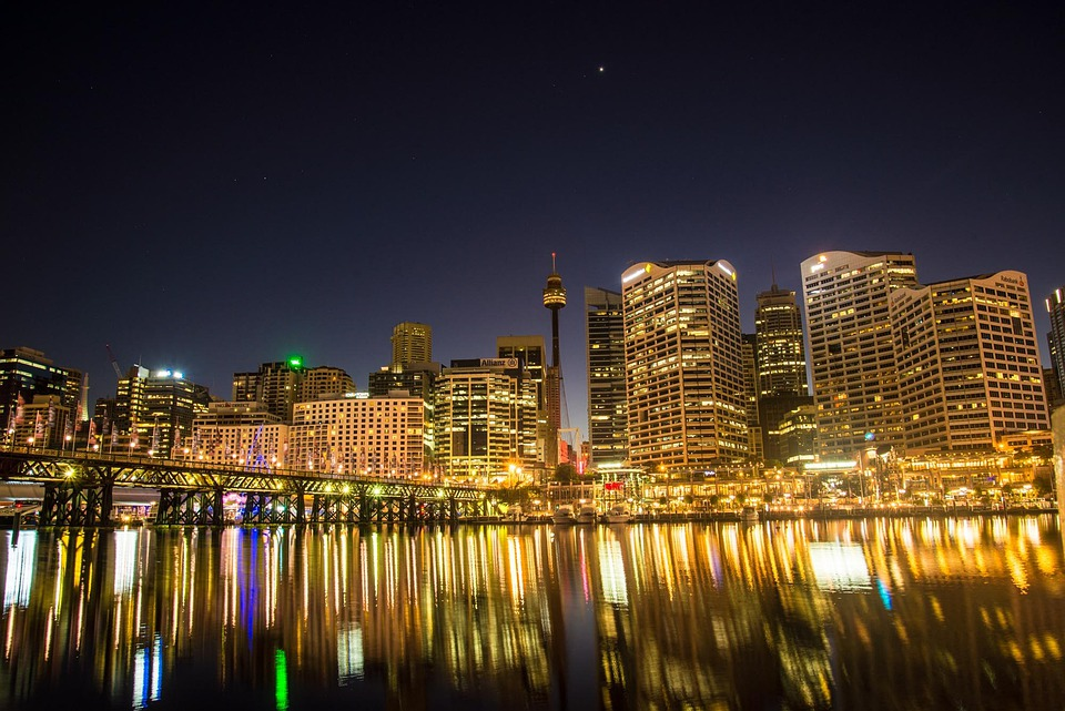 Cityscape, Illuminated, Darling Harbour, Sydney