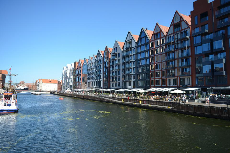 City, Gdansk, River, Poland, Waterway, Cityscape