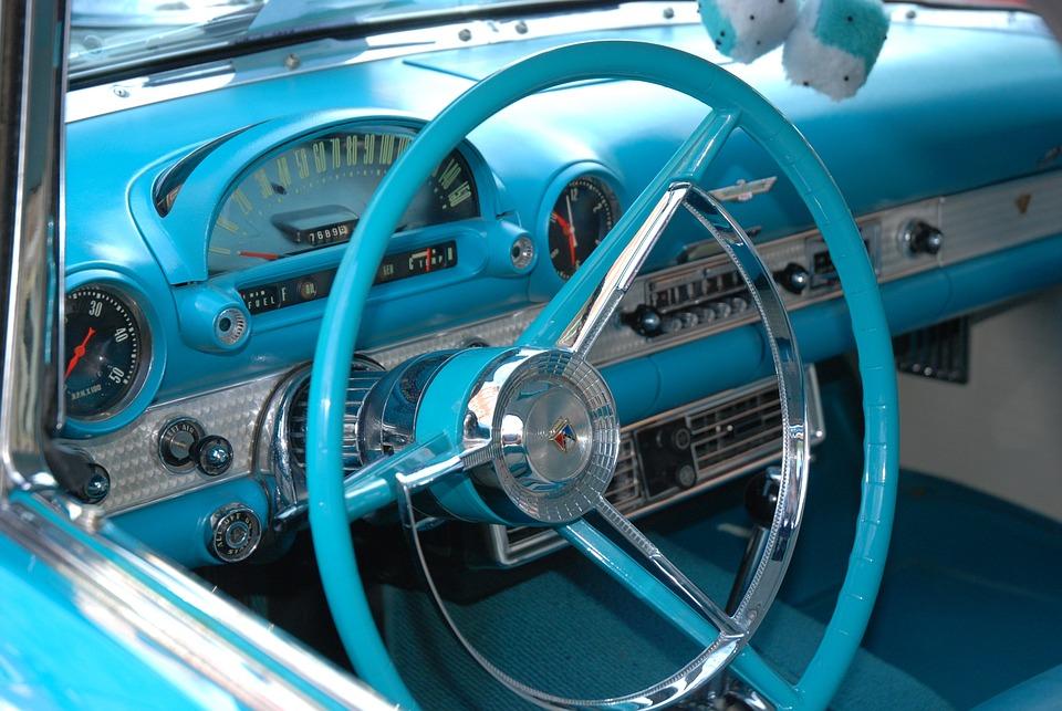 Classic Car, Blue, Classic, Car, Interior, Vintage