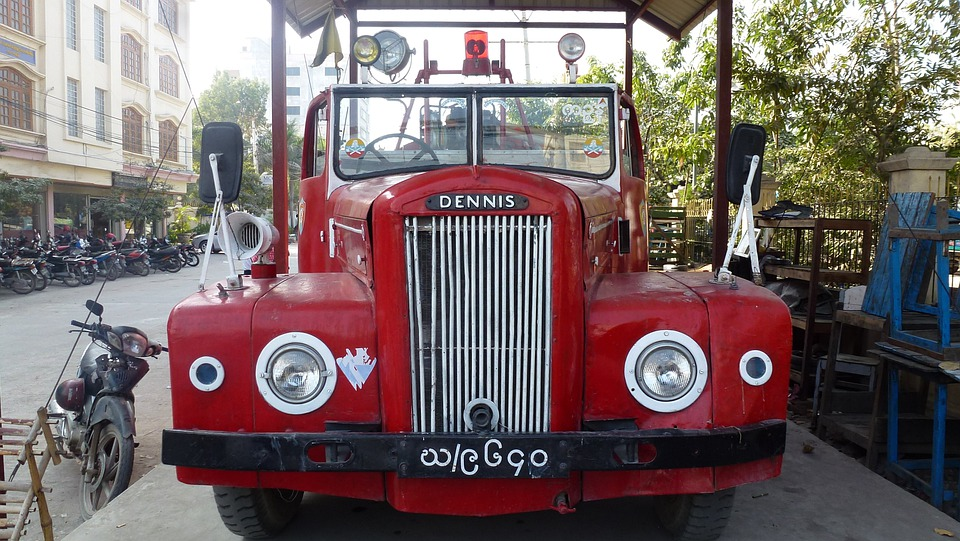 Myanmar, Fire Engine, Dennis, Automobile, Car, Classic