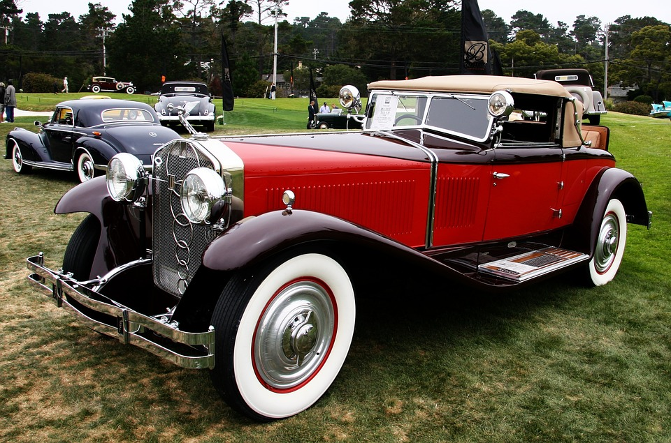 Free photo Classic Red American White Wheels Convertible Car - Max ...