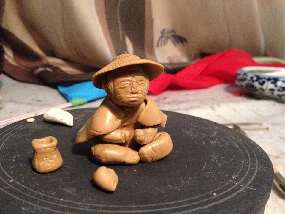 Clay Sculpture, Fisher, Clay Figurine