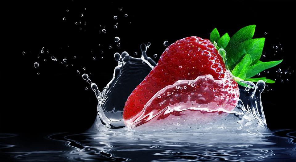 Strawberry, Splash, Water, Clean Water, Splashing