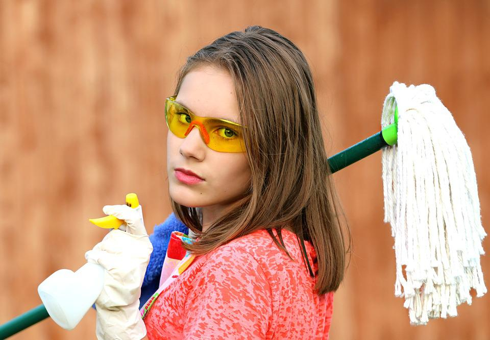Girl, Glasses, Mop, Cleaning, Clean, Order, Hygiene