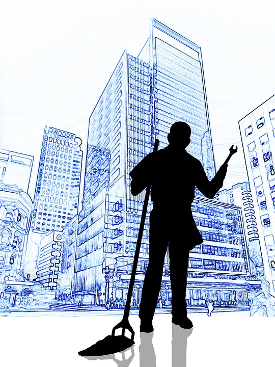 Janitor, Cleaning Mop, Clean, Wrench, Skyscraper, Home