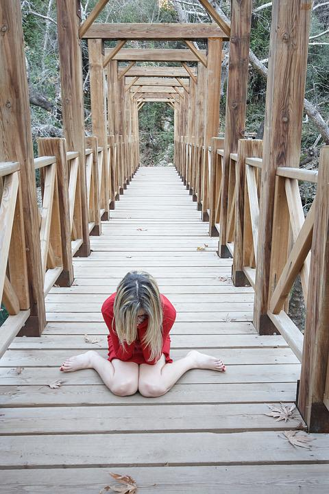 Red, Woman, Only, Bridge, Cliff, Suicide, Cry
