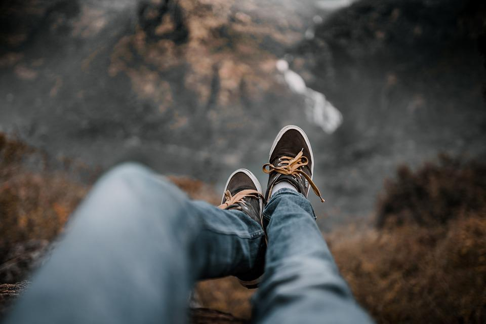 Edge, Height, Depth, Shoes, Browns, Mountains, Cliff