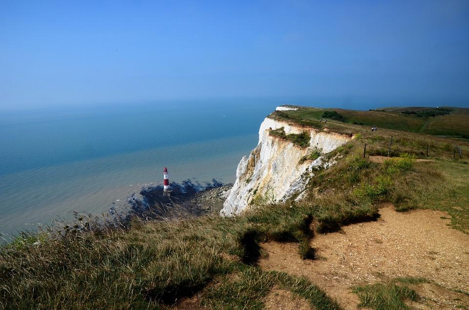 Beachy Head, White Cliffs, Lighthouse, Cliff, Crash