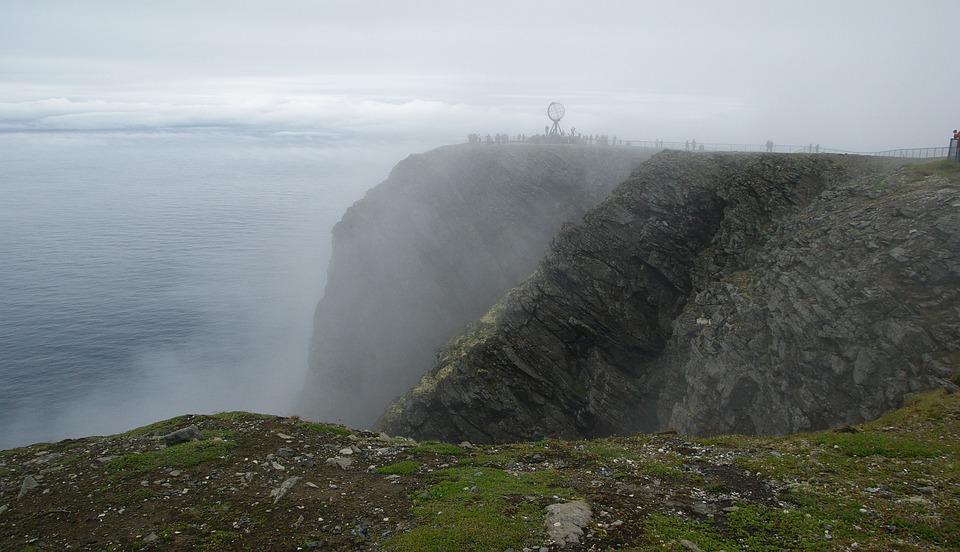 Norway, Northern Cape, Cliff, Mist