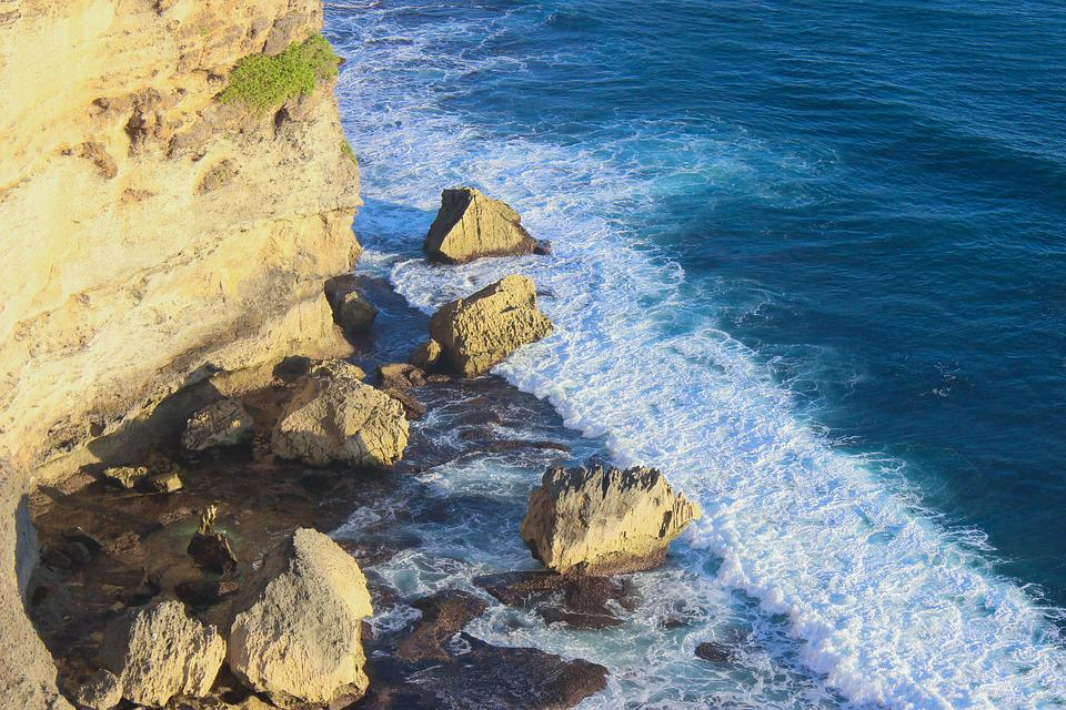 Ocean, Waves, Rocks, Cliff