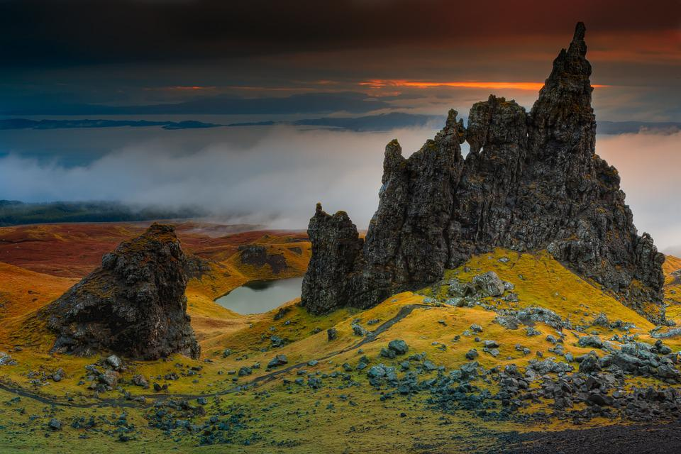 Rock, Cliff, Scotland, Isle Of Skye, Old Man Of Storr