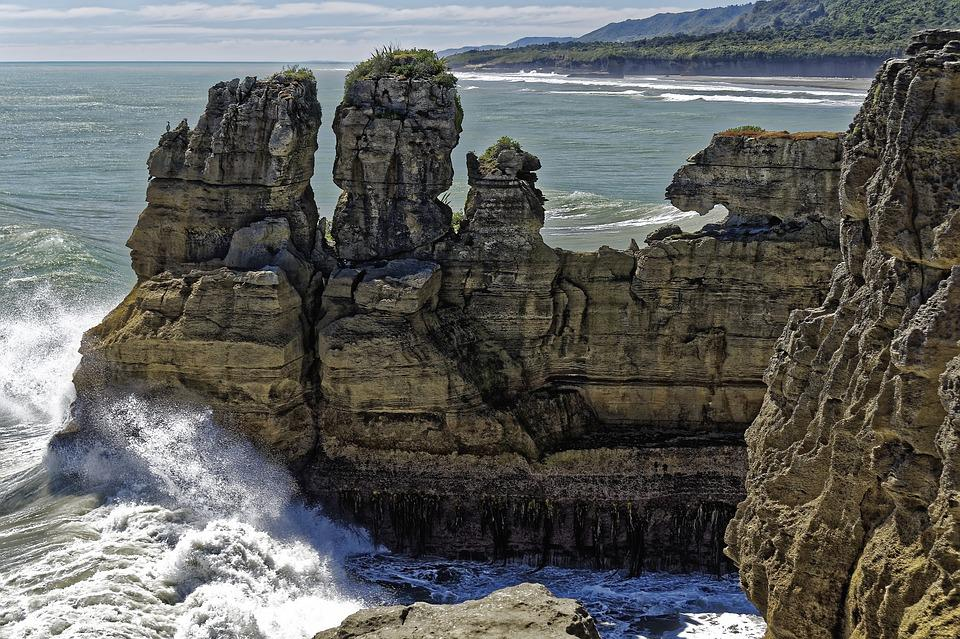 New Zealand, South Island, Cliff, Landscape, Sea, Ocean