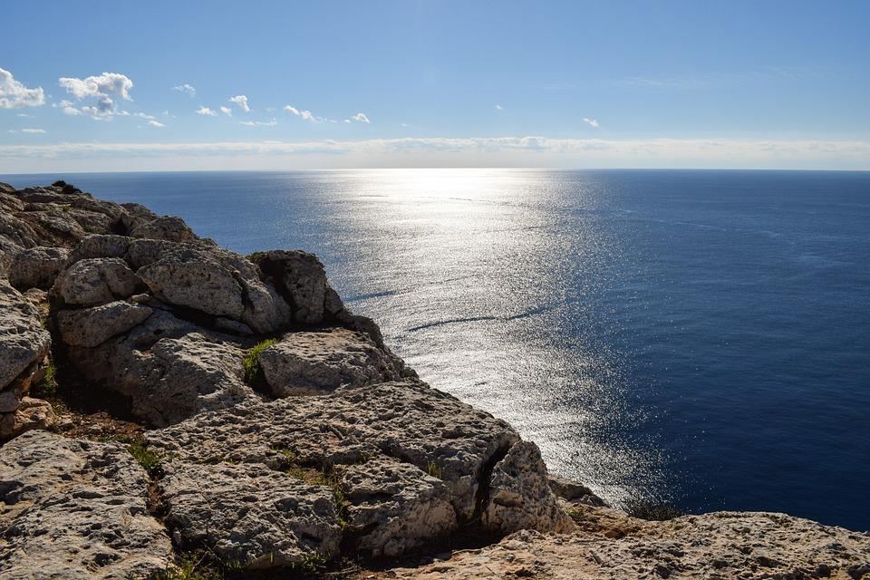 Sea, Seashore, Water, Sparkling, Rock, Cliff, Sky