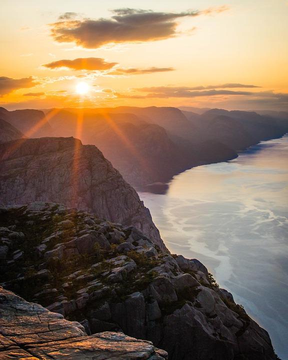 Cliff, Mountain, Sunset