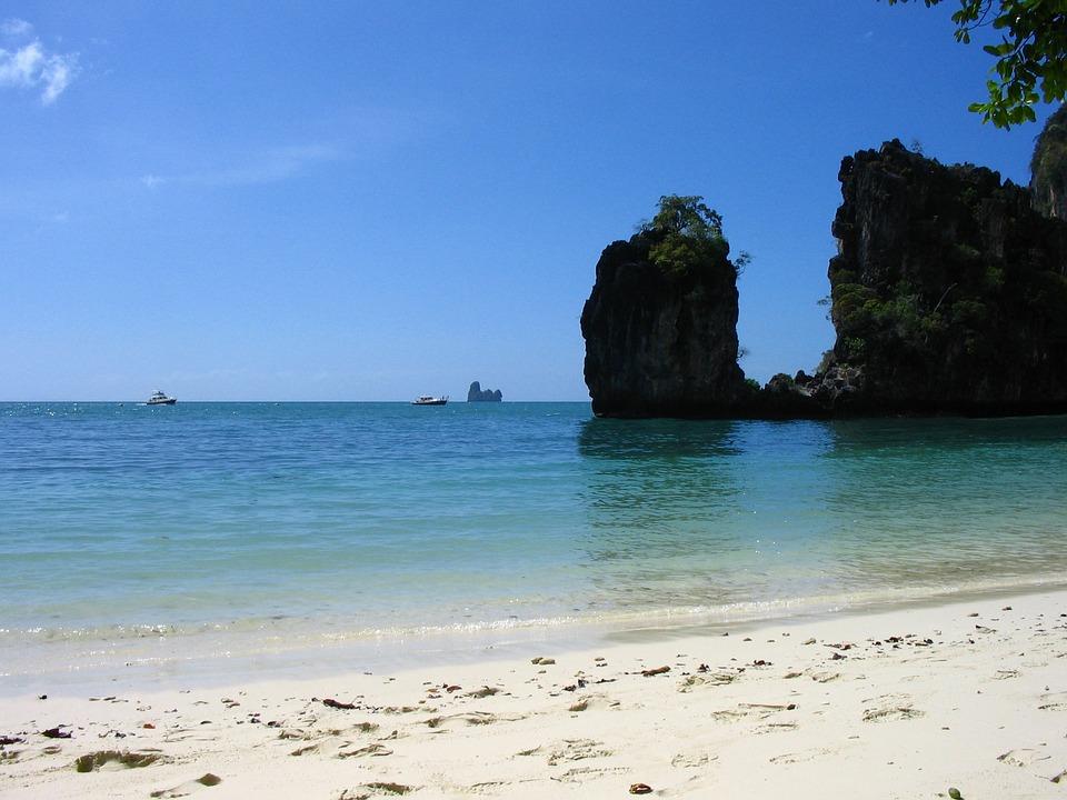 Thailand, Beach, Cliffs, Turquoise Ocean