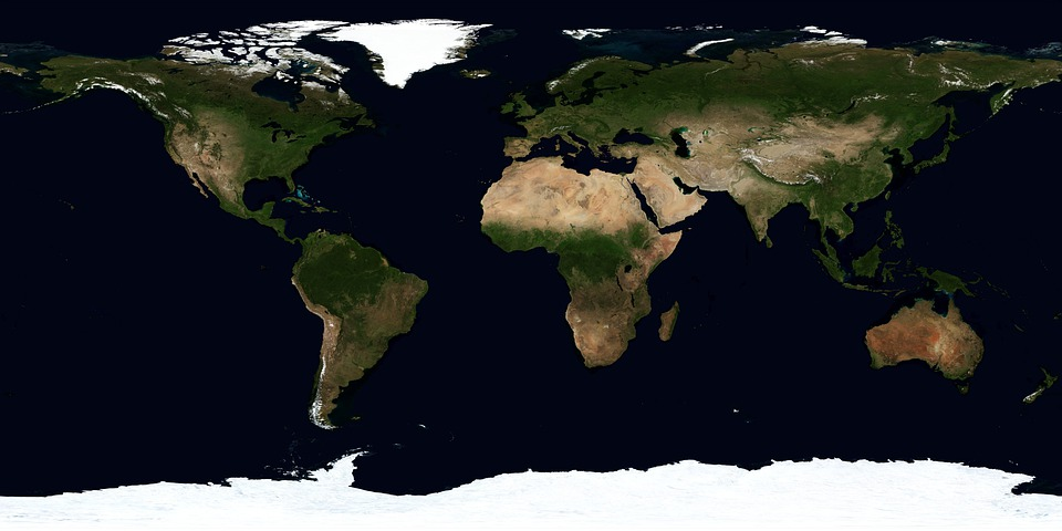 Earth, Map, Summer, July, Continents, Climate Zones