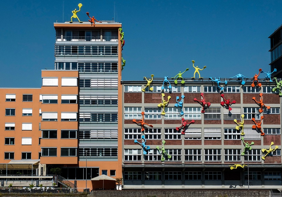 Building, Port, Climb, Artwork, Düsseldorf