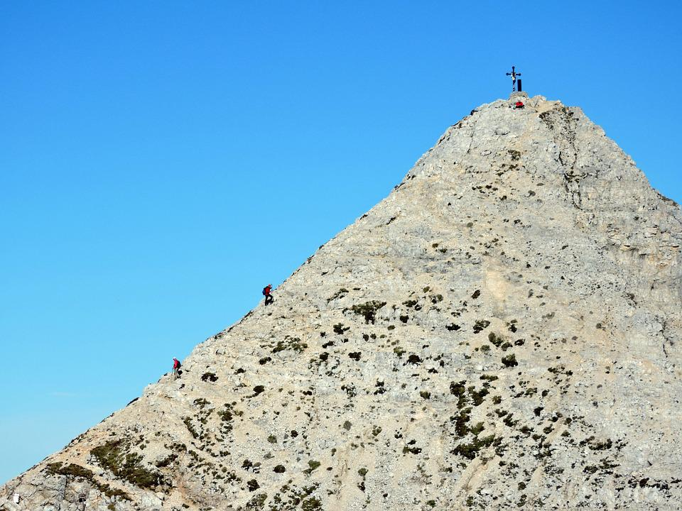 Mountaineering, Top, Climbing, Climbers, Upstream