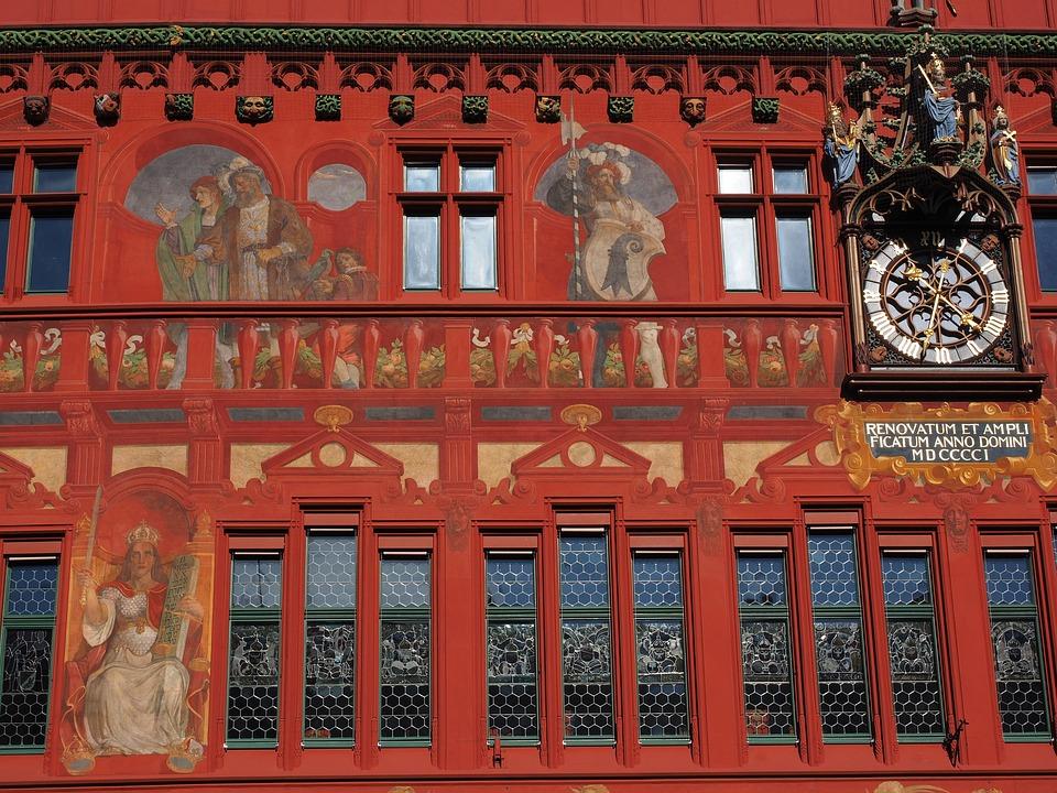 Basel City Hall, Facade, Clock, Town Hall Clock