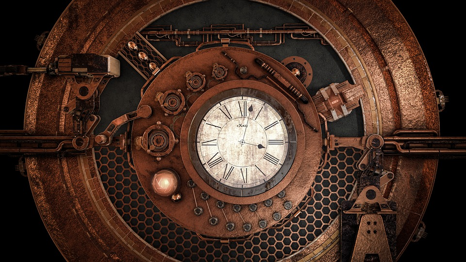 Steampunk, Clock, Time, Fantasy, Antique, Background