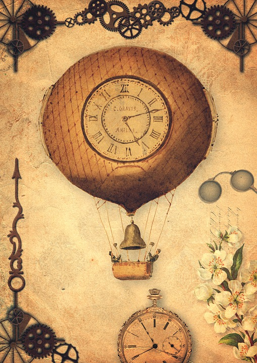 Hot Air Balloon, Gears, Clock, Time, Pocket Watch, Old