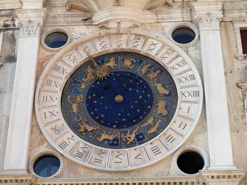 Italy, Venice, Saint Mark's Square, Clock, Horoscope