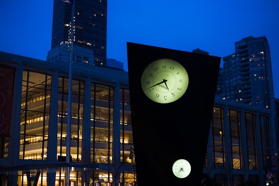 New York, Clock, Night, Urban, City, Time, Lights