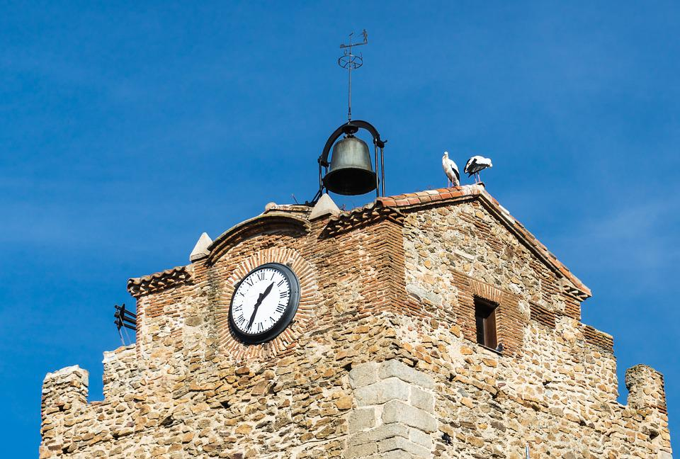 Stork, People, Bell Tower, Clock, Campaign, Hour
