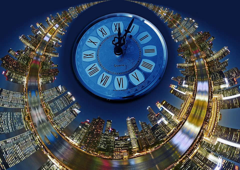 City, Skyline, Clock, Time, Five To Twelve, District