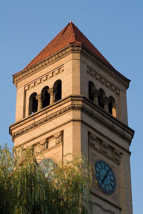 Clock Tower, Spokane, Washington, Clock, Riverfront